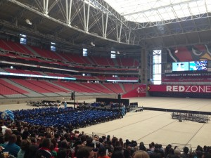 We attended seven seniors' graduations of our youth group, including this one at the Cardinal's stadium.